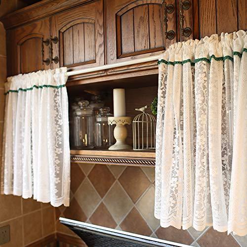 MELAG Cortinas 2 Cortinas de Cocina de café,Cortinas de Encaje de Estilo rústico Americano para Ventana de Cocina,Cortinas de Media Barra con Encaje Exquisito (Ancho 150 cm,Alto 165 cm)
