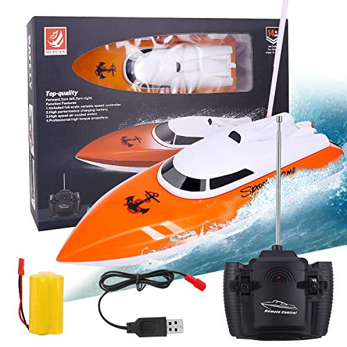 NEW 2021 Remote Control Boat, 2.4GHz Remote Control Boat for Pool and Lakes, Electric RC Boat 180 Degree Auto Flip Recovery, High Speed Remote Boat Toys for Boys & Girls - Best Gifts for Adults & Kids