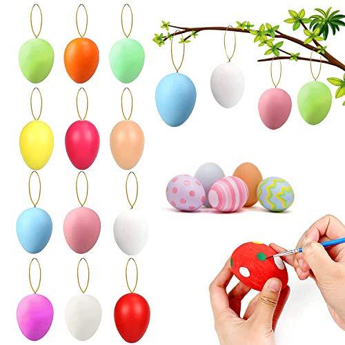 XUNKE Huevos de Pascua, 12 Huevos de Pascua Coloridos de Plástico, Manualidades de Bricolaje de Pascua Que Pintan para La Decoración, Huevos de Pascua Juguetes Favores de Partido