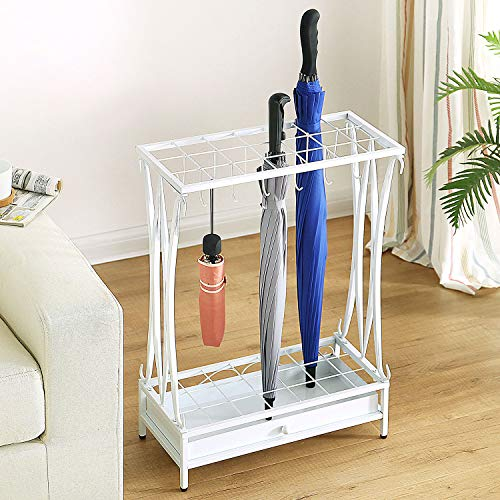 MyGift White Metal 21-Slot Freestanding Umbrella Stand Storage Rack Organizer with 12 Hooks & Removable Base Drip Tray
