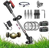 Débroussailleuse électrique sans fil avec 3 types de lames de rechange et 48 V - Lame en métal pour nettoyer les mauvaises herbes et les arbres - 2 piles 48 V