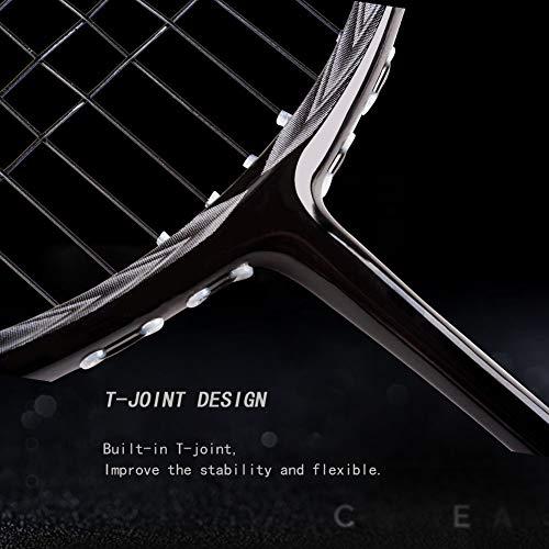 Senston N80 100% Full Carbon Badminton Racket with Premium Bag, One-Piece Design Lightweight Graphite Single Badminton Racquet