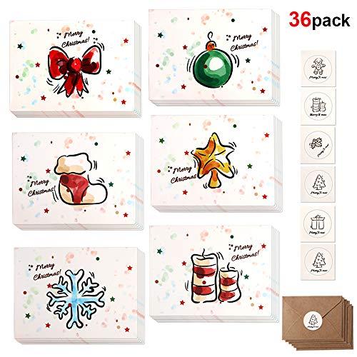 Howaf 36 Pacco Cartoline di Natale, Buon Natale Auguri Biglietti in 6 Disegni con Buste e Adesivi, 3,3 x 4,5 Pollici