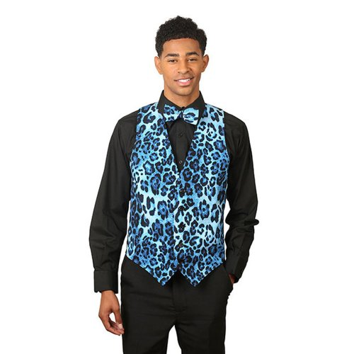 SixStarUniforms Men's Blue Leopard Print Vest and Matching Bow Tie-X-Large