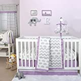 Grey Elephant and Chevron Patchwork 3 Piece Crib Bedding Set with Purple Trim