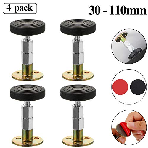 Litthing Bed Frame Anti-Shake Tool, Adjustable Threaded Bedside Stoppers,Telescopic Support Stabilizer for Room Wall, Beds, Cabinets, Sofas,Easy Install (4, 30-110mm)