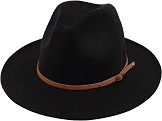 Women Lady Felt Fedora Hat Wide Brim Wool Panama Hats with Band