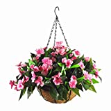 Mynse Silk Impatiens Flowers Hanging Coco Basket Artificial Impatiens Flower for Balcony Home Decoration, Rose Red (A Small Basket and Artificial Flower)