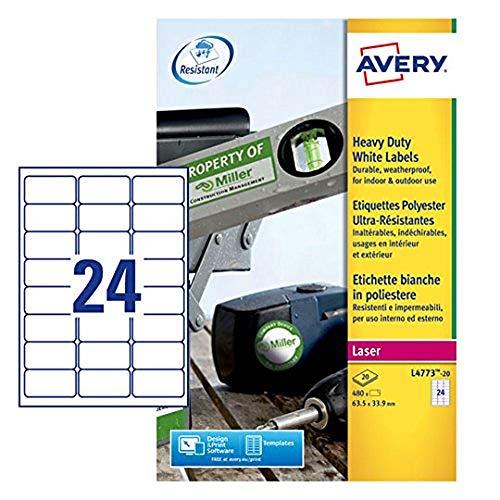 Avery L4773-20 Etichette in Poliestere, 24 Pezzi per Foglio, 20 Fogli, 63.5 x 33.9, Bianco