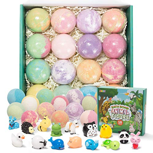 Bath Bombs for Kids with Animal Figures 16 Pack Bubble Bath Bombs with Surprise Toy Inside Natural Essential Oil SPA Bath Fizzies Set Kids Safe Birthday Gift Set for Boys and Girls