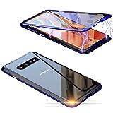Jonwelsy Funda para Samsung Galaxy S10 Plus (6,4 Pulgada), 360 Grados Delantera y Trasera de Transparente Vidrio Templado Case Cover, Fuerte Tecnología de Adsorción Magnética Metal Bumper Cubierta