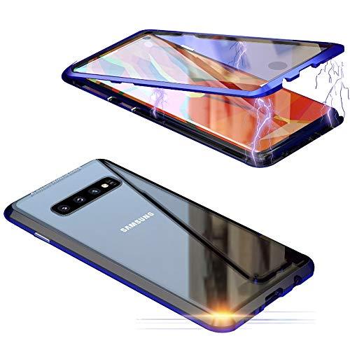 Jonwelsy Coque pour Samsung Galaxy S10 (6,1 pouces), 360 degrés avant et arrière en verre trempé transparent, forte technologie d'absorption magnétique métal Bumper Bleu / Noir