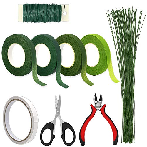 Floral Arrangement Tools, WEST BAY 9Pcs Flower Craft Tools Include Floral Wire Cutter Shears 4Pcs Floral Tape 26 Gauge Stem Wire 22 Gauge Paddle Wire Double-Sided Tape for Bouquet Stem New Year Gift