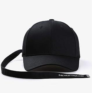 PPCP Women's Black Four Seasons Long Ribbon Baseball Cap Men's Breathable Fashion Cap (Color : Black)