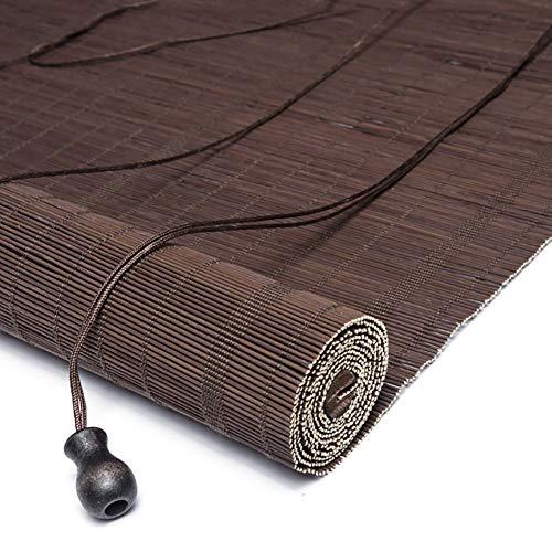 R&F - Persiana enrollable para puerta de ventana, patio, porche, madera, con todos los accesorios, color marrón, W 130cm× H 130cm