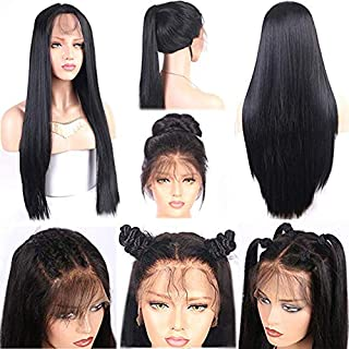 Giannay Straight Hair Lace Front Wigs Long Black Color Synthetic Wigs for Women Heat Resistant Fiber Hair Wig Half Hand Tied 24 Inches Replacement Lace Wigs