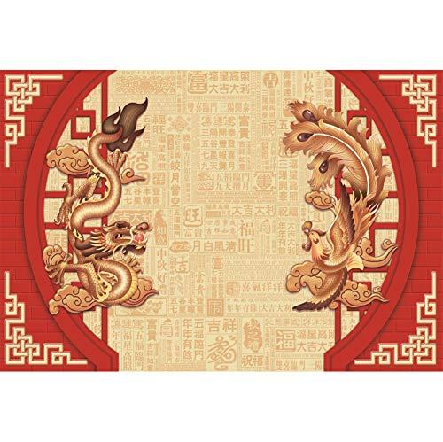YongFoto 7x5ft Polyester Chinese Lente Festival Fotobehang Cartoon Chinese Draak Phoenix Chinese Karakter Wensen Achtergrond voor Partij Wanddecoratie Studio Fotografie Props Videobehang
