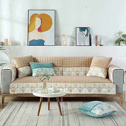 B/H Fundas de sofá de Esquina,Cojín Grueso y cálido para sofá, cojín Antideslizante de Franela-Caqui_110 * 180cm,3 Plaza Funda de Sofá Elástico Cubierta
