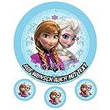 Tortenaufleger aus Zuckerpapier - Tortenbild Geburtstag Tortenplatte Zuckerbild Motiv: Frozen Elsa und Anna