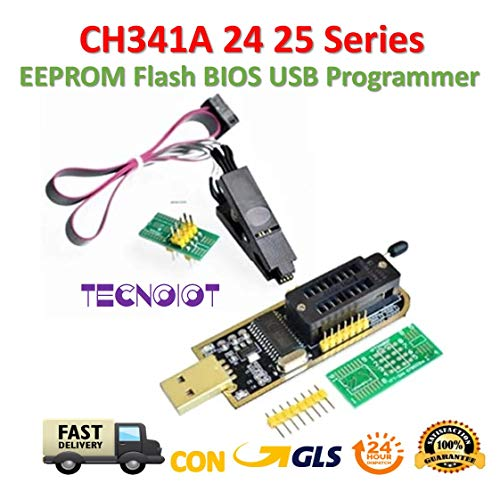 TECNOIOT CH341A 24 25 Series EEPROM Flash BIOS USB Programmer with Software and Driver