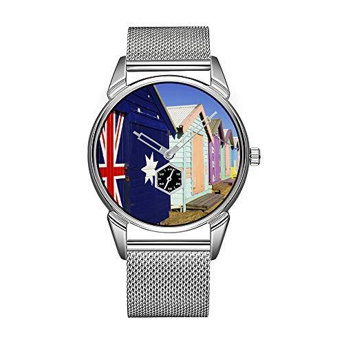 Reloj de pulsera para hombre de acero inoxidable plateado, resistente al agua, marca superior, reloj de pulsera para hombre, caja de baño, Middle Brighton Beach