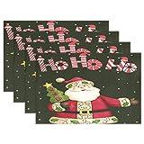 Retro Xmas Papá Noel Manteles individuales Árbol de Navidad Snow Table Mats Antideslizantes, lavables, resistentes al calor, individuales para cocina, comedor, decoración, bandeja, tapete, 12 'x 18',