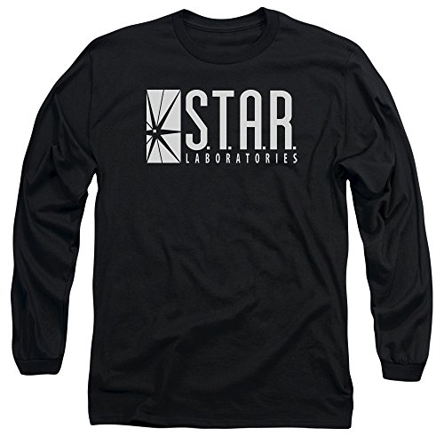 Flash - STAR manches longues Homme T-shirt, Large, Black