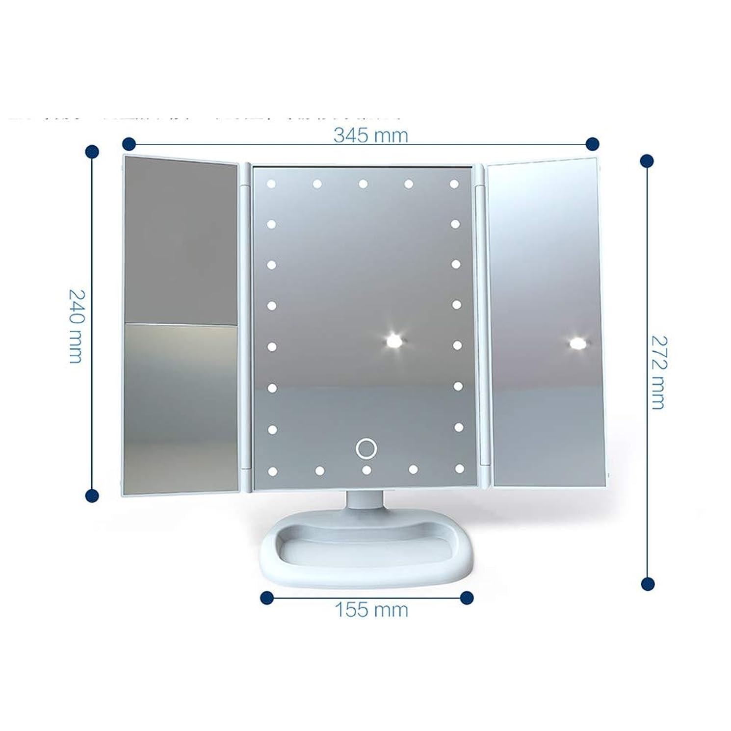 水差し無限イディオムGEABQJ 化粧鏡 LEDフィルライト顕微鏡 三重折り デスクトップ 拡大鏡、 272x345x155mm (Color : White)