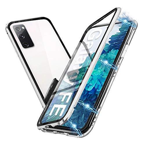 HaptiCover Hülle für Samsung Galaxy S20 FE Magnetische Handyhülle 360-Grad-Schutz Starke Magneten Aluminium Rahmen Gehärtetes Glas Stoßfest Metall Flip Hülle, Silber