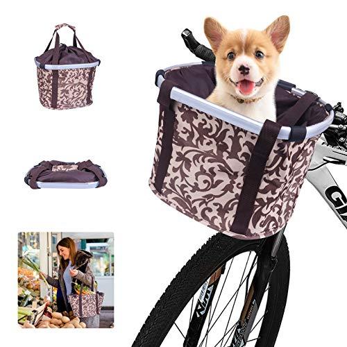 Grsta Dog Basket for Bicycle, Detachable/Folding Front Bikes Basket Canvas...