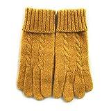 MMD-wool gloves Gemütliche Handschuhe weiblich Winter-Thin Section Five Fingers Warm Nette gestrickte Handschuhe Kaltbeweis (Color : Yellow, Size : One Size)