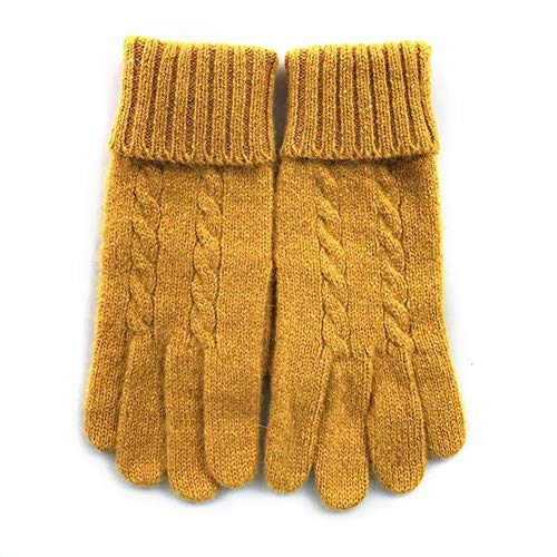 MMD-wool gloves Gemütliche Handschuhe weiblich Winter-Thin Section Five Fingers Warm Nette gestrickte Handschuhe Kaltbeweis (Color : Yellow, Size : One Size)
