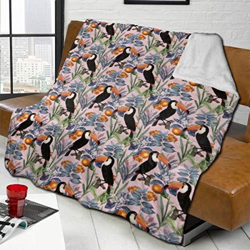 Daisylove Tucan - Manta decorativa para sofá, cama, sofá, silla, oficina, viajes, camping, manta moderna y cálida de 127 x 152 cm