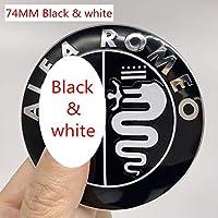 2 個 7.4 センチメートルフルクローム色アルファロメオ車のロゴエンブレムバッジステッカー水戸ための 147 156 159 166-Black and white B