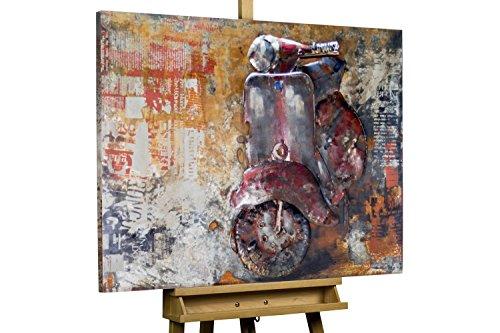 Kunstloft Extravagante Relieve de Pared de Metal Vespa Italiana' 100x75x5cm | Decoración XXL Escultura | Scooter Vespa vespino Rojo Italia | Cuadro Hecho a Mano Imagen Mural de Arte Moderno