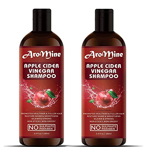 Glamorous Hub - Champú para cabello con vinagre de sidra de manzana y aroma para cabello largo y fuerte (sin sulfato ni parabenos), paquete combinado (cada 100 ml)