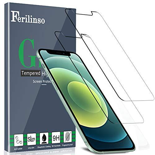 Ferilinso [2 Stück] iPhone 12 Panzerglas Schutzfolie Displayschutzfolie [Kompatibel mit Handy Hülle] [9H Härte] [2.8D Rand] [Anti-Kratzen] [Blasenfrei] [HD]