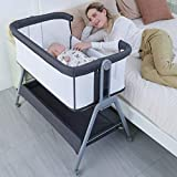 ANGELBLISS Bassinet & Bedside Sleepers Lightweight and Mobile with Storage Basket Beside Crib for Baby ,Portable Bed to Bed Adjustable Height Portable Travel Crib for Newborn