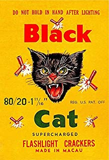 Black CAT Brand Firecrackers - The Original Cat - Poster 13x19 / Fireworks