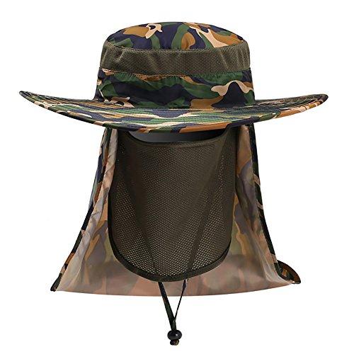 kaakaeu Rundumschutz Camouflage Sonnenhut mit Gesicht und Nacken Schutztuch Unisex Fashion breite Krempe Sommer Visier Hut, einfarbig, Green Camouflage