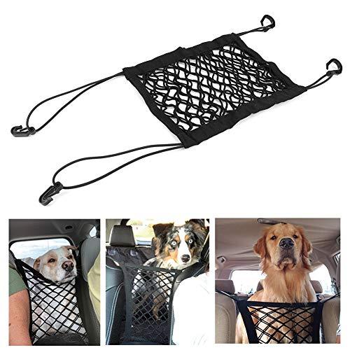 Cikonielf Pet Car Net Barrera de Seguridad Asiento Delantero Barrera de Malla Obstáculo Travel Dog Cat Net con Ganchos y Correas Portátil Universal para Coche(Negro)