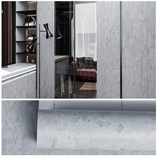 VEELIKE Carta da parati autoadesiva effetto cemento addensato Adesivo per mobili di colore grigio Carta adesiva in vinile per rivestimento di mobili da cucina Buccia e bastone 40 cm x 3 m