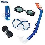 Bestway Kinder-Schnorchelset blau 5tlg. Taucherbrille Schwimmbrille Schnorchel Strandbox
