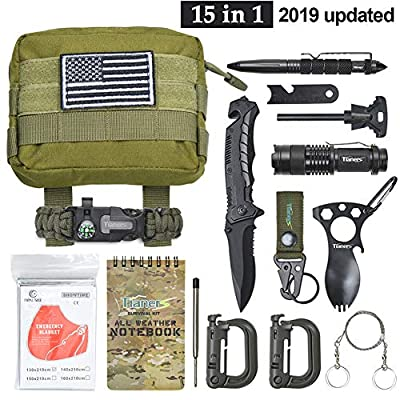 Tianers Emergency Survival Kit 16 in 1, Upgrade Compact Survival Gear, Tactical Survival Tool for Cars, Camping, Hiking, Hunting, Adventure Accessorie (Survival Kit Green) from Tianers