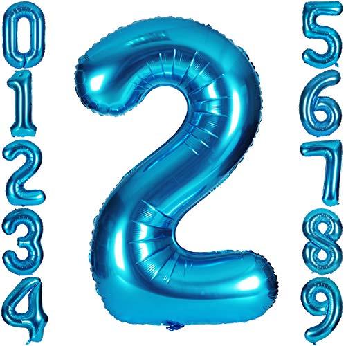 CHANGZHONG Globo de helio con número 2 de 100 a 9, color azul