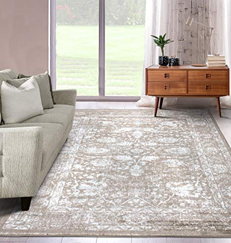 A2Z Rug | Alfombra Pelo Corto|De Diseño Moderna Carpeta Aspecto Oriental Vintage Adornos Estampado Flores|de Salón, Dormitorio, Comedor| Crema Beige| tamaño: 120x170 CM