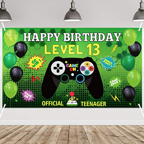 PANTIDE Level 13 Video Game Happy Birthday Backdrop Banner- Level Up Birthday Party Decorations Supplies, Game Controller Balloon Banner Background, Game On Party Large Poster Accessory (6.6 x 3.8ft)