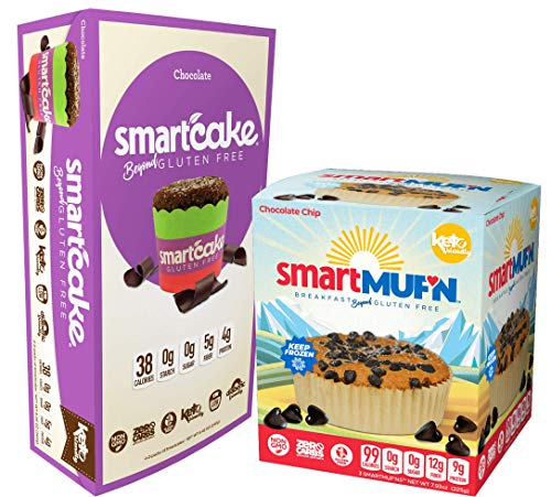 Chocolate lovers Smartmuf'n and Smartcake bundle: 1x 3-pack chocolate chip Smartmuf'n box and 1x 4-pack of chocolate Smartcake, keto and gluten free