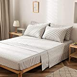 JELLYMONI 100% Cotton 4 Pieces Grey Striped Full Sheet Set, Ultra Soft Breathable Deep Pocket Printed Grey with White Stripes Pattern Sheets with Pillowcases