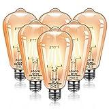 AGOTD Bombillas Vintage LED E27, ST64 4W 2500K Bombilla Edison LED, Retro Filamento ST64 Decorativa, Ambar Cálido Bombillas, No Regulable, 220V-240V (6 Piezas)